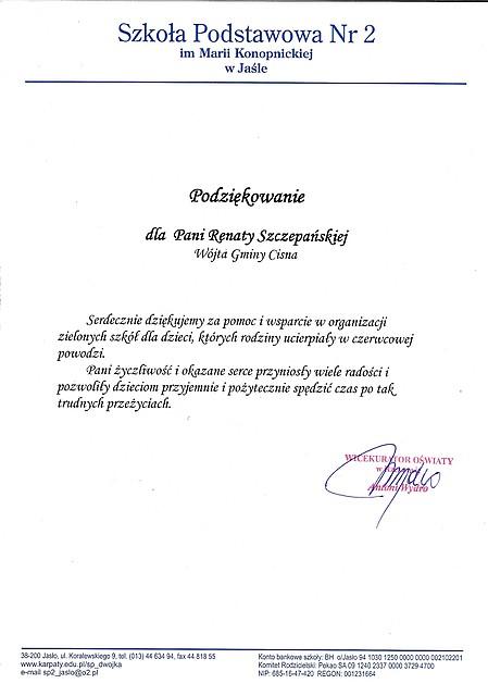 Szkoła Podstawowa nr 2 im. Marii Konopnickiej w Jaśle - podziekowania dla Pani Wójt Renaty Szczepańskiej