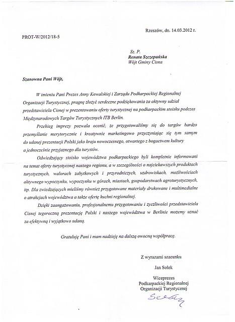 List Gratulacyjny Wiceprezes Podkarpackiej Regionalnej Organizacji Turystycznej
