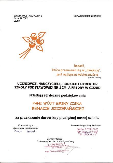 Szkoła Podstawowa nr 1 im. A. Fredry w Cisnej - podziekowania dla Pani Wójt Renaty Szczepańskiej