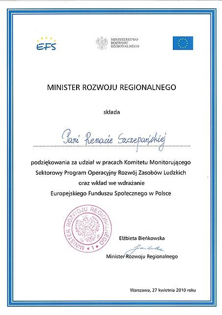 Podziękowania Minister Rozwoju Regionalnego dla Pani Wójt Renaty Szczepańskiej