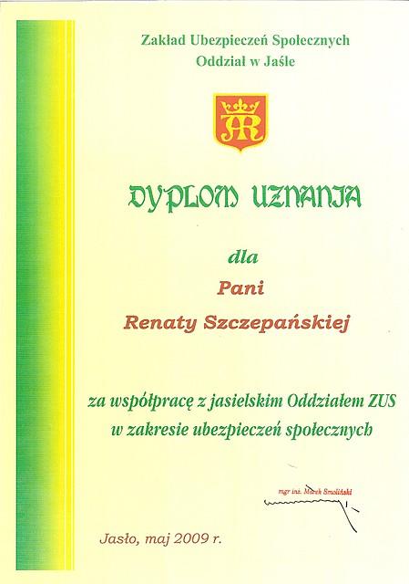 ZUS oddział w Jaśle - dyplom uznania  dla Pani Wójt Renaty Szczepańskiej