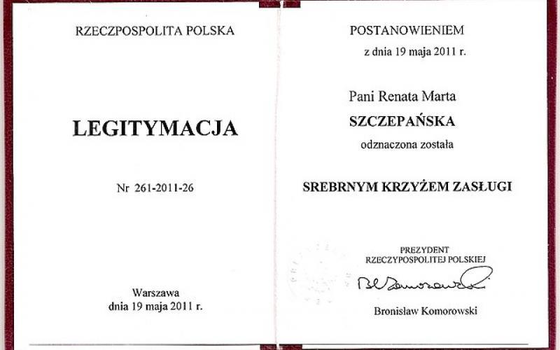 Legitymacja - Srebrny Krzyż Zasługi - Renata Szczepańska