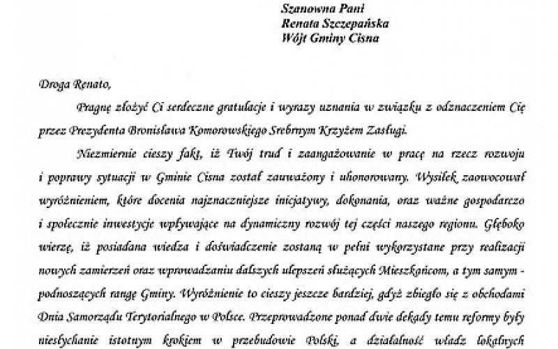 List Gratulacyjny Poseł do Parlamentu Europejskiego Elżbiety Łukacijewskiej dla Pani Wójt Renaty Szczepańskiej