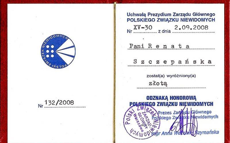 Złota Odznaka Honorowa Polskiego Związku Niewidomych dla Renaty Szczepańskiej