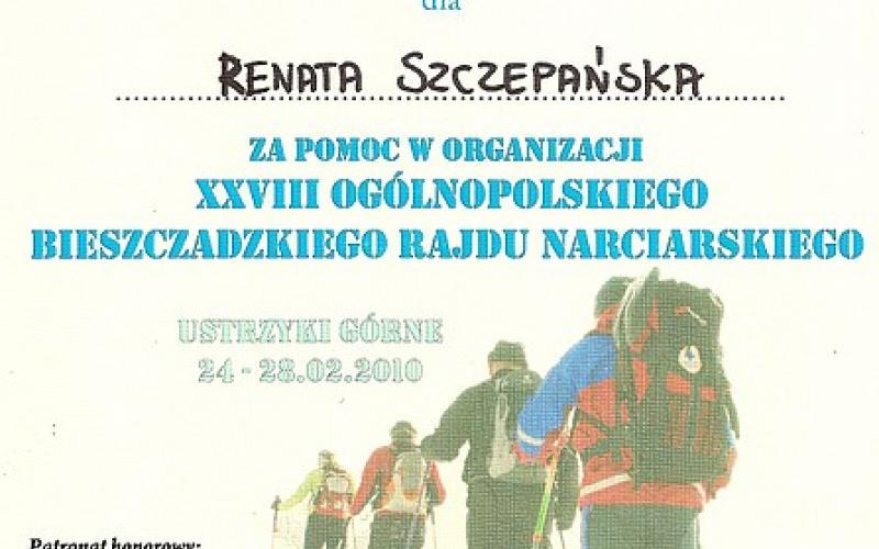 XXVIII Ogólnopolski Bieszczadzki Rajd Narciarski - podziekowania dla Pani Wójt Renaty Szczepańskiej