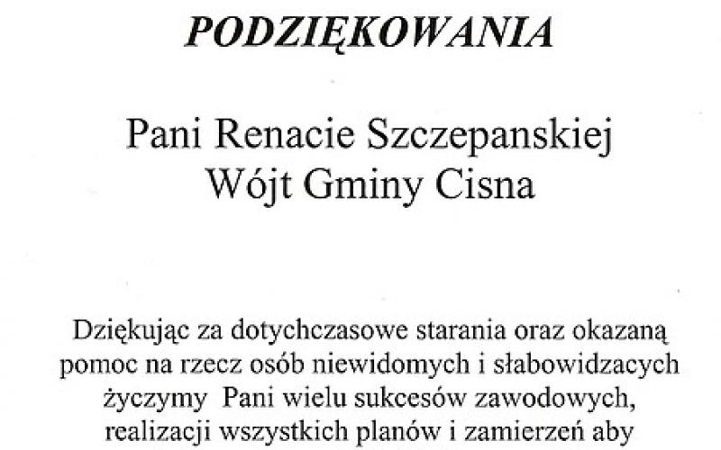 Polski Związek Niewidomych - podziekowania dla Pani Wójt Renaty Szczepańskiej