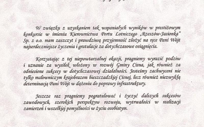 Port Lotniczy Rzeszów-Jasionka Sp. z o.o. - List Gratulacyjny dla Pani Wójt Renaty Szczepańskiej